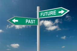 Signs that say past and future