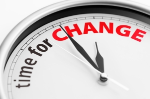 "Clock with ""Time For Change"" text"